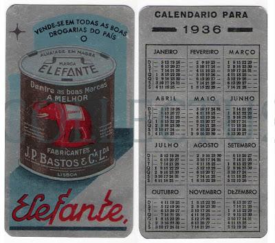 Calendário 1936 - Elefante