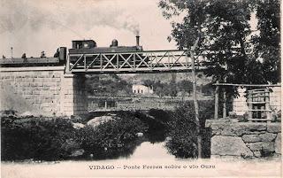 Postal de Vidago com comboio