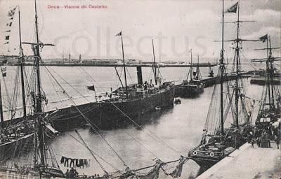 Postal da doca de Viana do Castelo Edição: Bazar Couto Vianna  Postal circulado:1907
