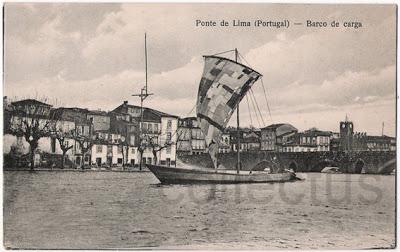 Postal antigo Ponte de Lima - Barco de carga