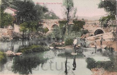 Postal antigo de Vizela - vista do rio Vizela