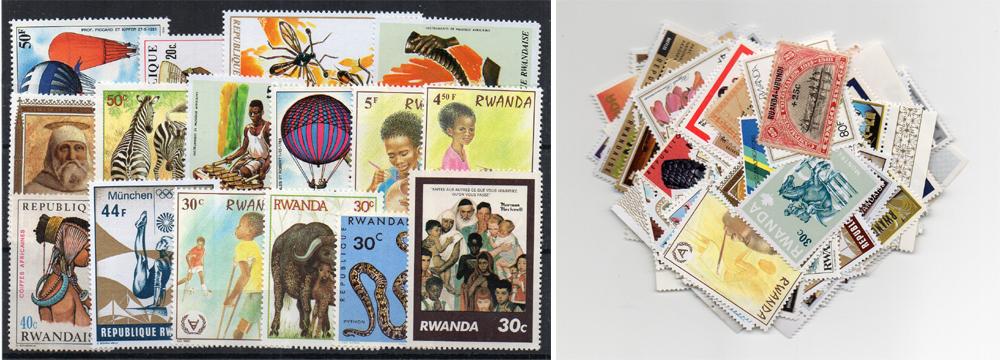 100 selos diferentes de Ruanda