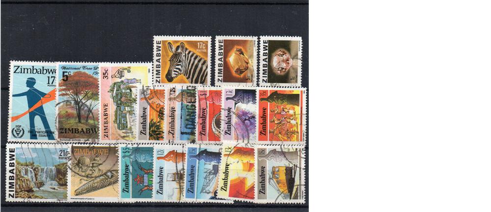 18 selos diferentes do Zimbabwe