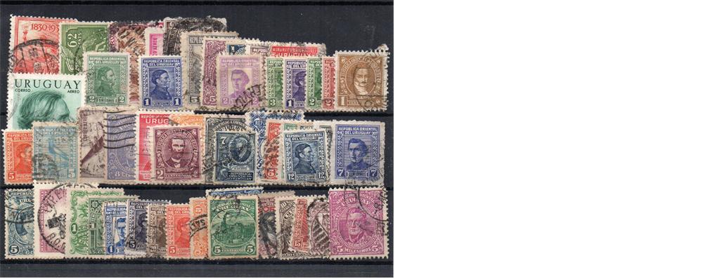 50 selos diferentes do Uruguai