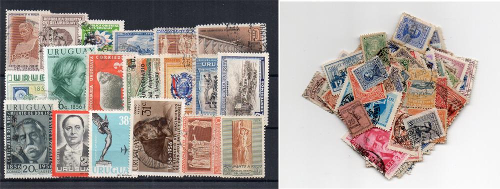 150 selos diferentes do Uruguai