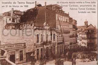 Postal antigo do Porto Incêndio no Teatro Baquet