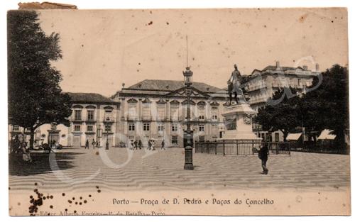 Postal antigo do Porto – Praça de D.Pedro e Paços do Concelho - Edição Alberto Ferreira