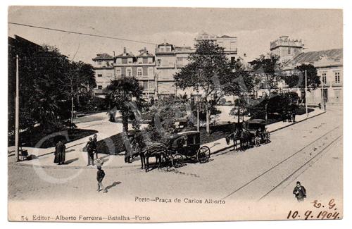 Postal antigo do Porto- Praça de Carlos Alberto. Edição Alberto Ferreira.