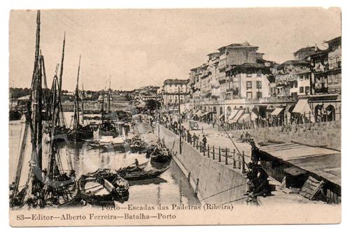 Postal antigo do Porto - Escadas das Padeiras (Ribeira). Edição Alberto Ferreira