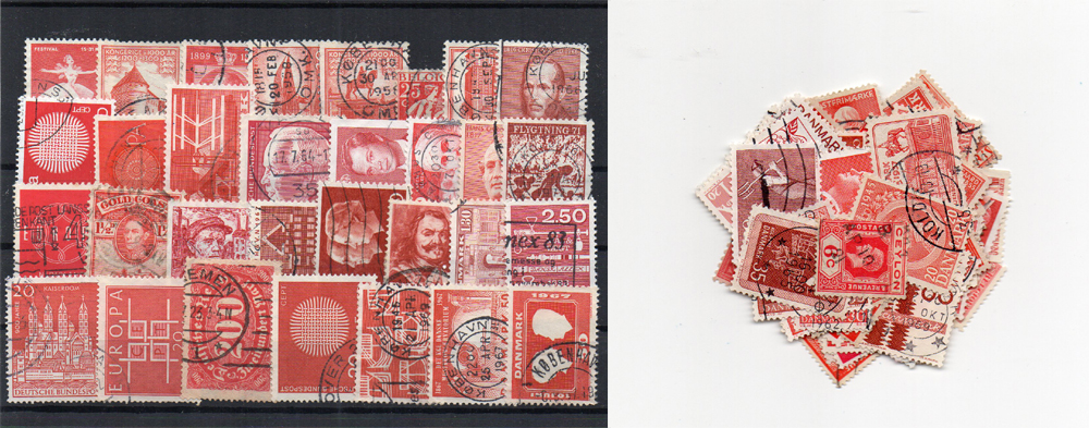 100 selos diferentes de cor vermelha