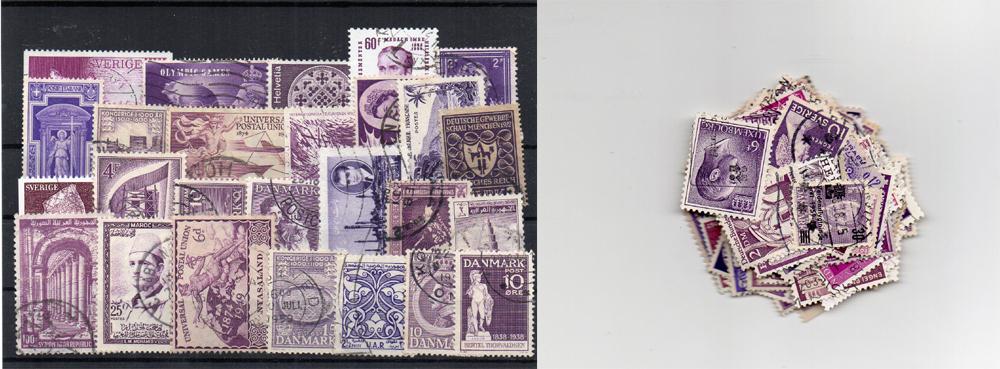 120 selos diferentes de cor roxa