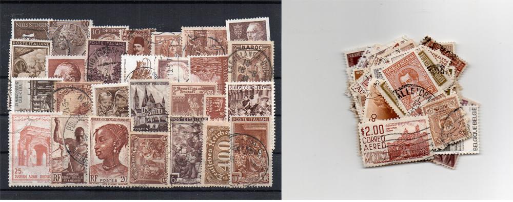 130 selos diferentes de cor castanha