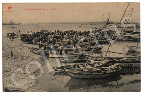 Postal antigo Portugal - Porto de Leixões. Estrela Vermelha