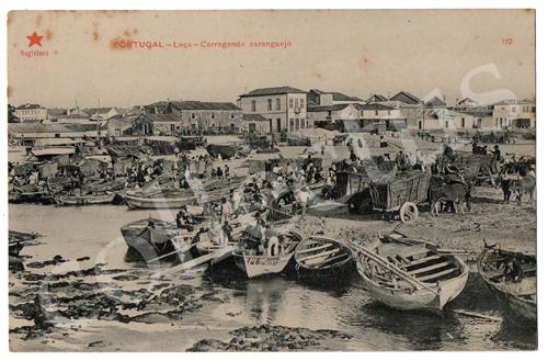 Postal antigo Portugal - Leça - Carregando caranguejo. Edição Estrela Vermelha