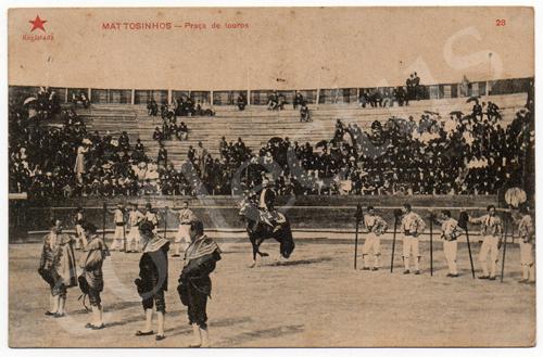 Postal antigo Matosinhos -Praça de touros. Edição Estrela Vermelha