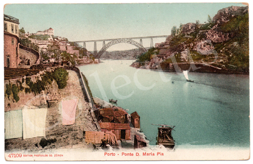 Postal antigo da Ponte D.Maria - Porto
