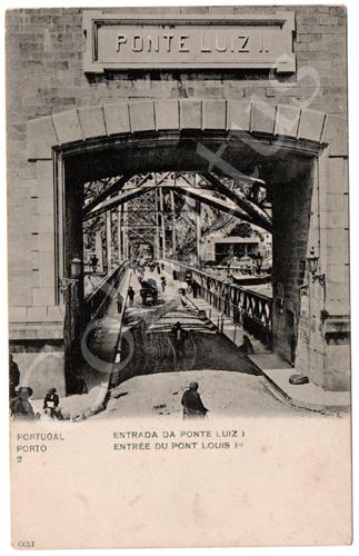 Postal antigo do Porto. Entrada da Ponte Luiz I