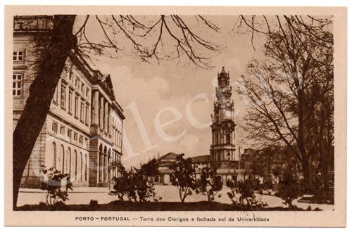 Postal antigo do Porto – Torre dos Clérigos e fachada sul da Universidade - Araújo e Sobrinho
