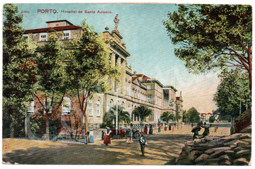 Postal antigo do Porto. Hospital de Santo António