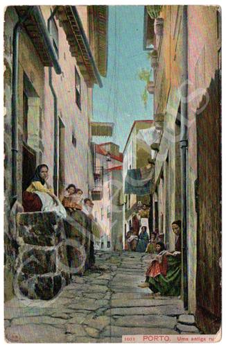 Postal antigo do Porto. Uma antiga rua