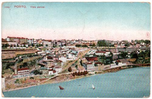 Postal antigo do Porto. Vista Parcial