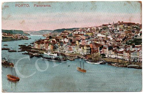 Postal antigo do Porto. Panorama