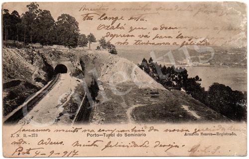 Postal antigo do Porto – Túnel do Seminário. Edição Arnaldo Soares