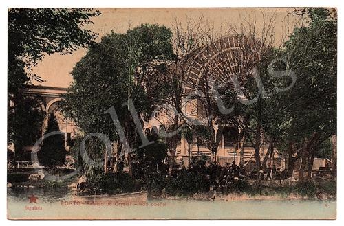 Postal antigo do Porto – Palácio de Cristal – lado poente. Edição Estrela Vermelha