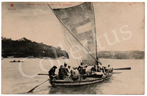 Postal antigo do Porto – Rio Douro – Barco de passagem. Edição Estrela Vermelha