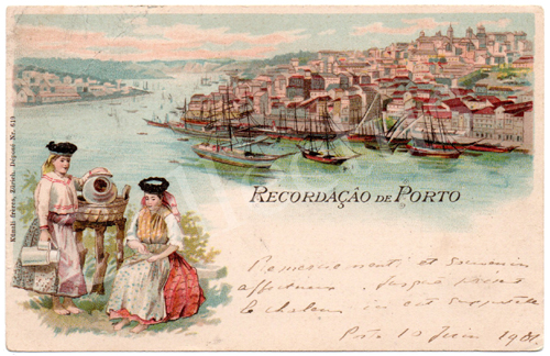 Postal antigo do Porto tipo Gruss