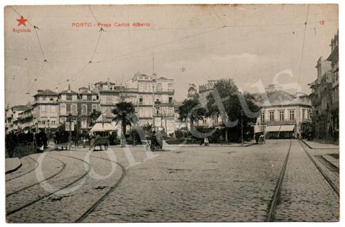 Postal antigo do Porto – Praça Carlos Alberto. Edição Estrela Vermelha
