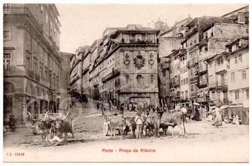 Postal antigo do Porto – Praça da Ribeira. Edição P.Z.