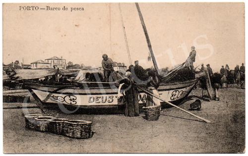 Postal antigo do Porto – Barco de pesca