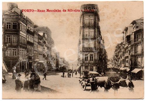 Postal antigo do Porto – Ruas Mousinho da Silveira e Flores