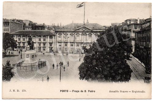 Postal antigo Porto – Praça de D.Pedro. Edição Arnaldo Soares