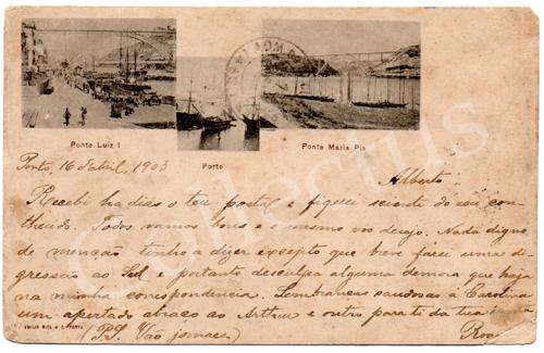 Postal antigo Ponte Luiz I. Porto. Ponte Maria Pia. Edição Emílio Biel