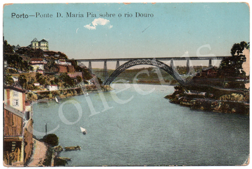Postal antigo do Porto – Ponte D.Maria Pia sobre o rio Douro. Grandes Armazéns Hermínios