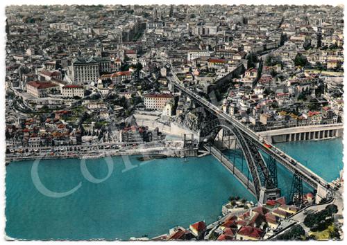 Postal antigo do Porto – Vista parcial e Ponte D.Luiz, vistas do ar