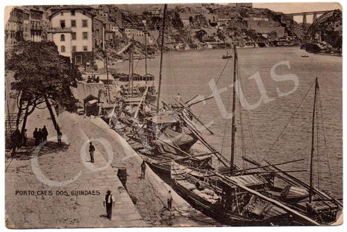 Postal antigo do Porto – Cais dos Guindaes