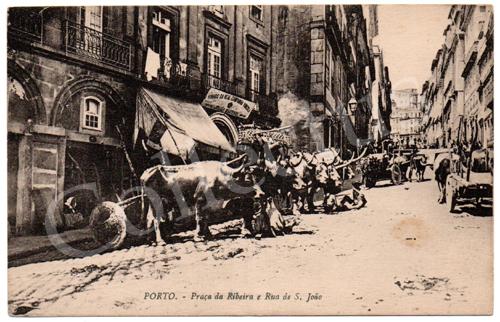 Postal antigo do Porto – Praça da Ribeira e Rua de S.João