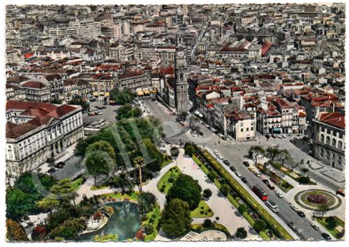 Postal antigo do Porto – Torre dos Clérigos, vista do ar