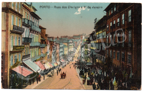Postal antigo do Porto – Ruas dos Clérigos e 31de Janeiro. Edição Grandes Armazéns Hermínios