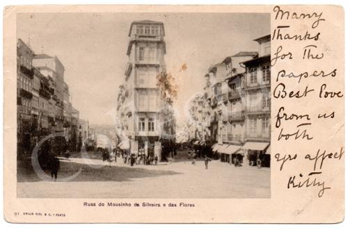 Postal antigo do Porto Ruas do Mouzinho da Silveira e das Flores. Edição Emílio Biel