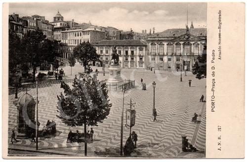 Postal antigo do Porto – Praça D.Pedro. Edição Arnaldo Soares