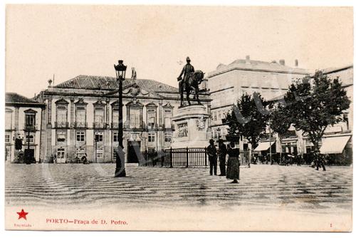 Postal antigo do Porto – Praça de D.Pedro. Edição Estrela Vermelha