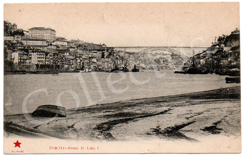 Postal antigo do Porto – Ponte D.Luiz 1.º Edição Estrela Vermelha