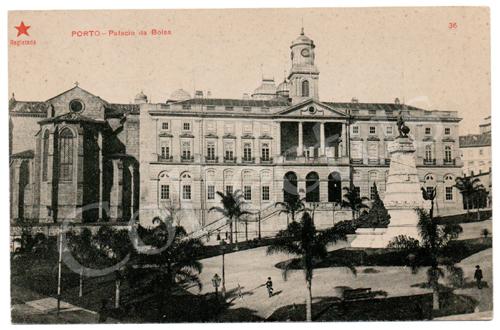 Postal antigo do Porto- Palácio da Bolsa. Edição Estrela Vermelha