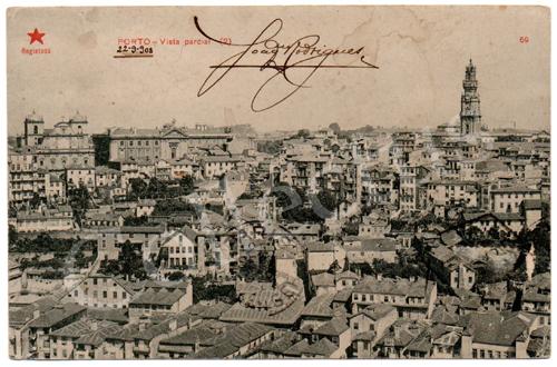 Postal antigo do Porto – Vista Parcial (2). Edição Estrela Vermelha