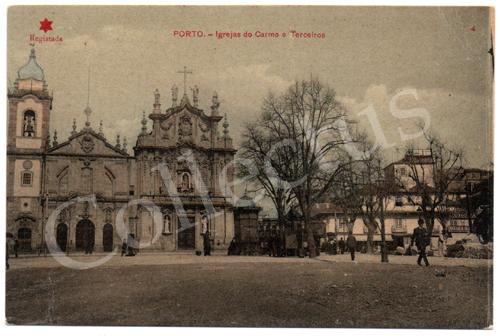 Postal antigo do Porto – Igrejas do Carmo e Terceiros. Edição Estrela Vermelha