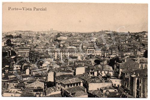 Postal antigo do Porto – Vista parcial. Edição Grandes Armazéns Hermínios